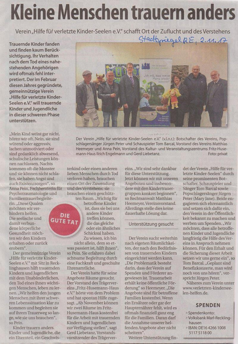 Artikel Recklinghäuser Stadtspiegel, 02. November 2017