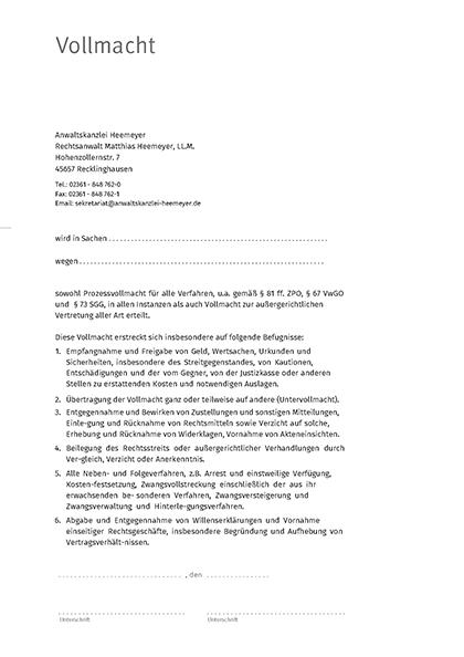 Anwaltsvollmacht Rechtsanwaltskanzlei Matthias Heemeyer